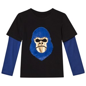 Image of BANGBANG Copenhagen Black and Blue 2-in-1 Gorilla Face Tee 1-2 years (3056069383)