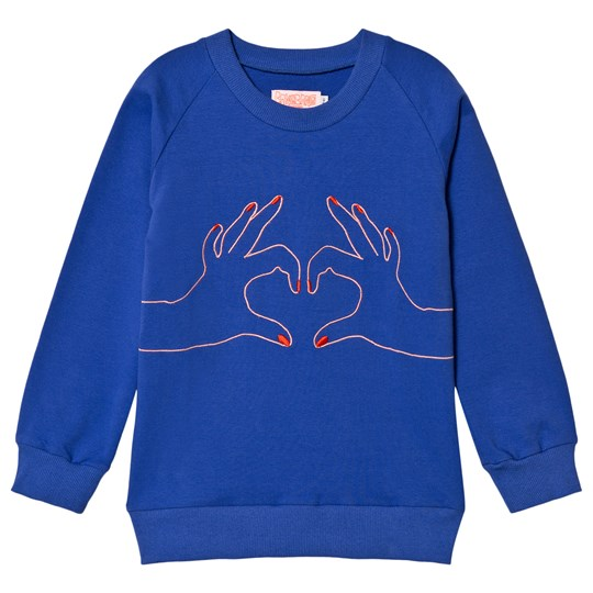 Wauw Capow Hand Love Gesture Tröja Royal Blue Blue