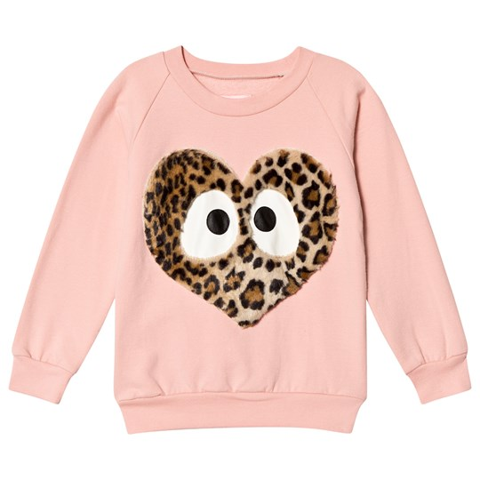 Wauw Capow Pink Sweatshirt with Leopard Print Heart Face Pink
