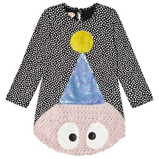 Wauw Capow Black and White Spotted Face Surprise Dot Dress Black