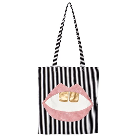 BANGBANG Copenhagen Black and White Tote Bag with Lips Black