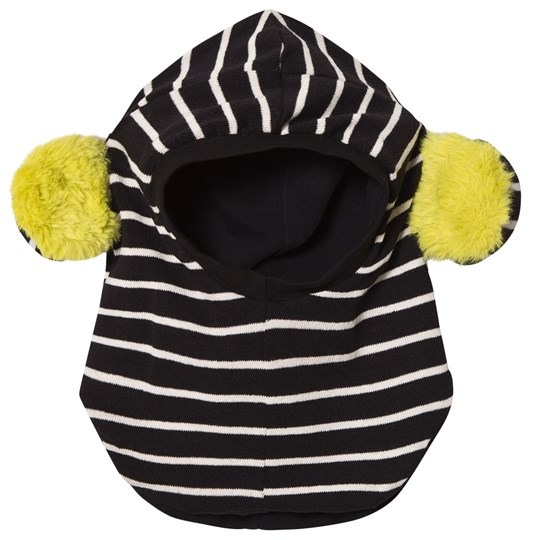 BANGBANG Copenhagen Black and White Striped Balaclava with Yellow Ears Black