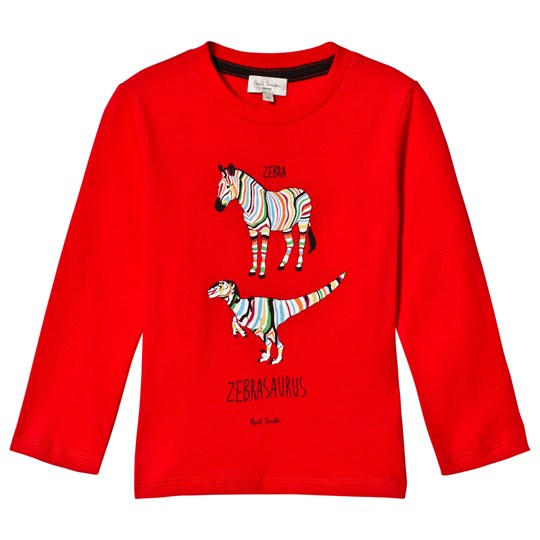 Paul Smith Junior Red Zebra and Dinosaur Long Sleeve Tee Rød