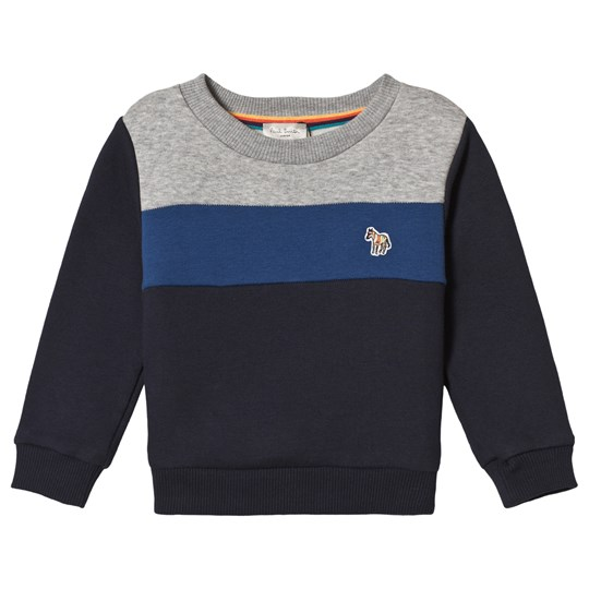 Paul Smith Junior Navy, Blue and Grey Panelled Sweatshirt Navy