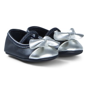 Image of Carrément Beau Navy and Silver Leather 15 (1 month) (1121291)