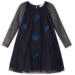 Stella McCartney Kids Misty Klänning med Hearts Applique Marinblå