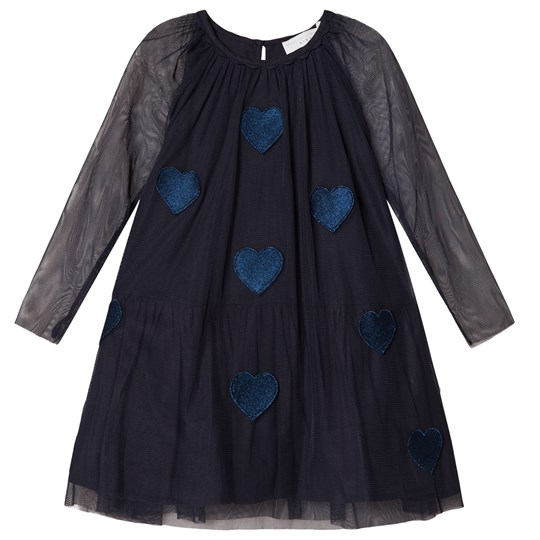 Stella McCartney Kids Navy Misty Dress with Hearts Applique 4064 - Black Blue