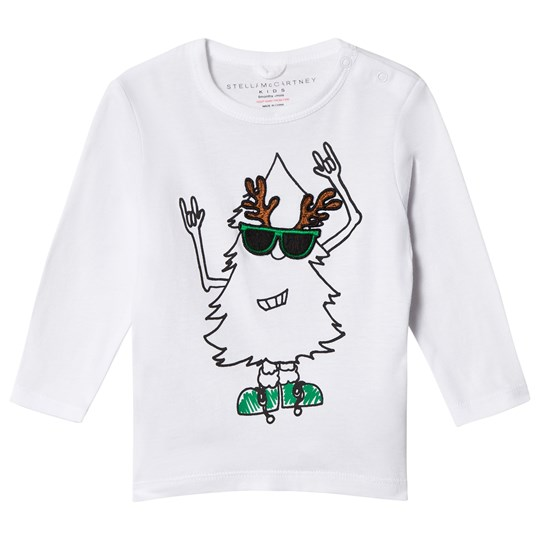 Stella McCartney Kids White Georgie Long Sleeved Xmas Tee 9082 - White