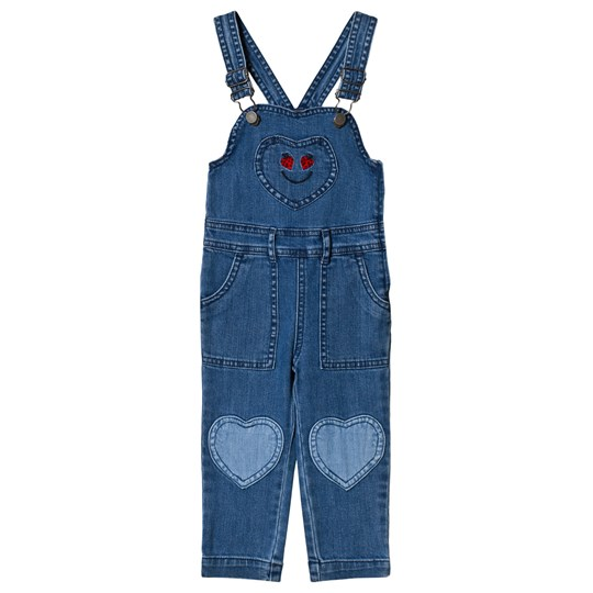 Stella McCartney Kids Blue Hearts Patch Overalls 4162 - Dark Denim