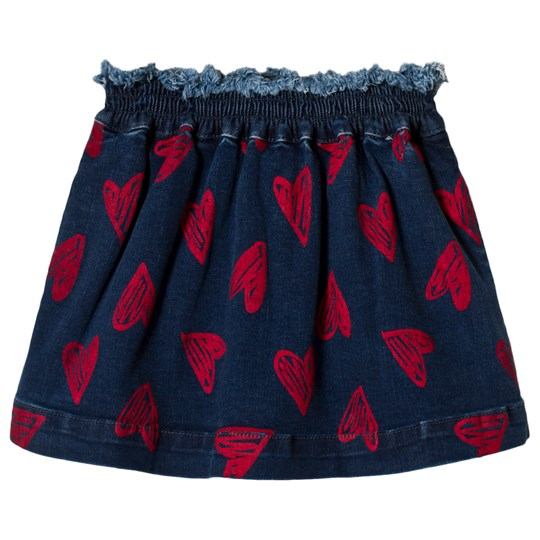 Stella McCartney Kids Navy and Red Heart Skirt 4302 - Flock Hearts Pr
