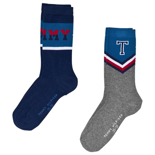 Tommy Hilfiger Grey and Blue Varsity Socks 2-Pack tommy original