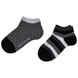 Tommy Hilfiger Black Color-Blocked Quarter Socks 2-Pack