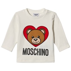 Moschino Kid-Teen White Bear Heart Print Branded Tee