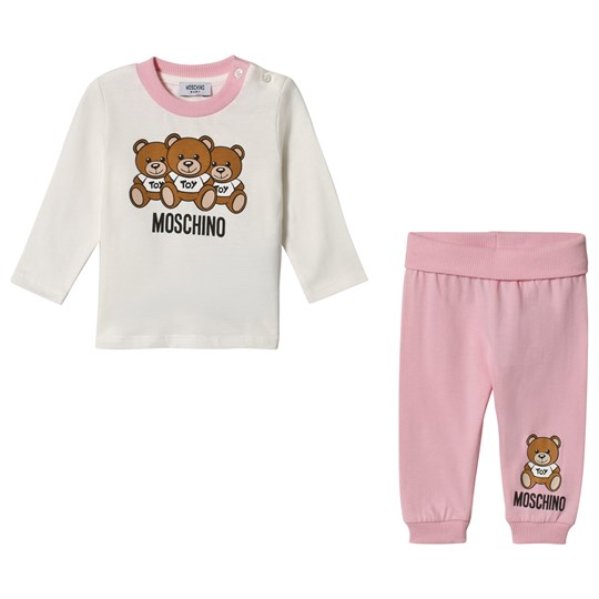 Moschino Kid-Teen Pink and White Bear Print Branded Tee and Leggings 83980