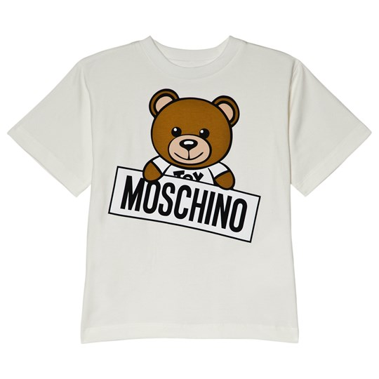 Moschino Kid-Teen White Bear Print Branded Tee 10063