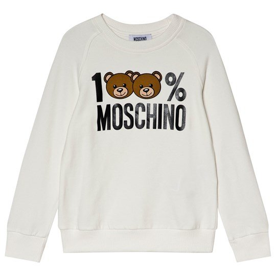 Moschino Kid-Teen Unisex White 100% Moschino Bear Sweatshirt 10063