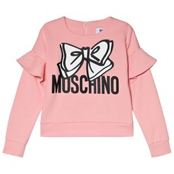 Moschino Kid-Teen Pink Ruffle Sleeve Bow Moschino Sweatshirt