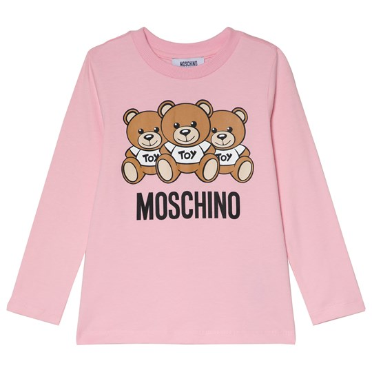 Moschino Kid-Teen Pink Multi Bear Branded Long Sleeve Tee 50186