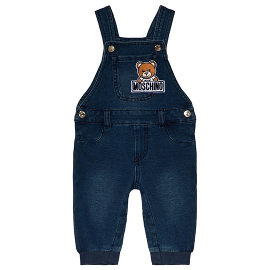 Moschino Kid-Teen Blue Soft Denim Bear Applique Dungarees 40016