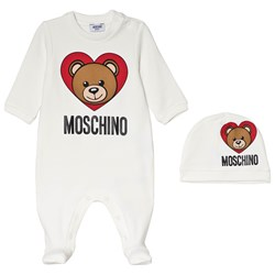 Moschino Kid-Teen White Bear Heart Print Branded Baby Body and Hat in Giftbox