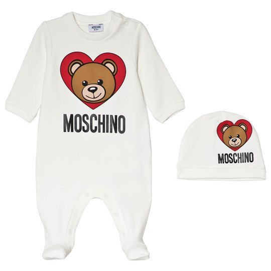 Moschino Kid-Teen White Bear Heart Print Branded Baby Body and Hat in Giftbox 10063
