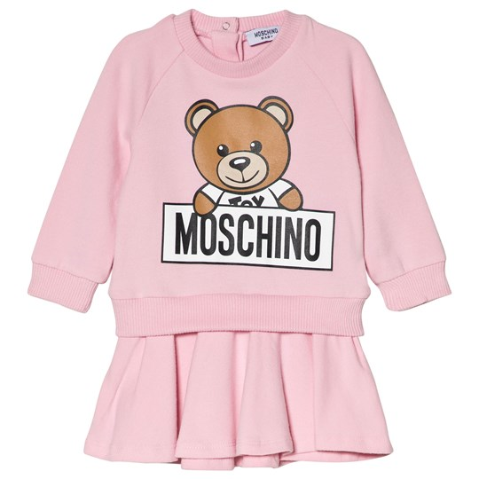 Moschino Kid-Teen Pink Bear Branded Sweat Dress in Gift Box 50186