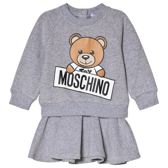 Moschino Kid-Teen Grey Bear Branded Sweat Dress in Gift Box 60901