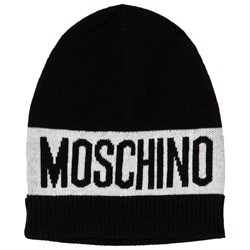 Moschino Kid-Teen Black Branded Knit Beanie