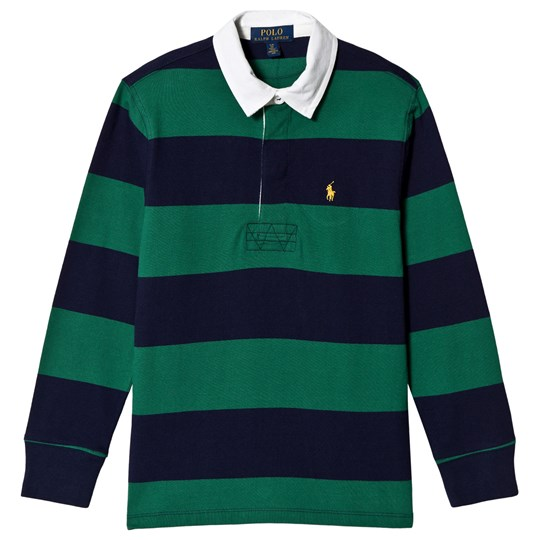 Ralph Lauren Green and Navy Stripe Rugby Tee with PP 004