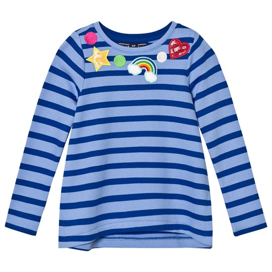 Lands' End Blue Stripe Patches Around Neck Embellished Sweatshirt Top Stripe Patches 5DV