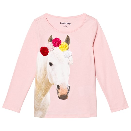 Land`s End Pale Pink Flower Crown Horse Embellished Graphic Tee Flower Crown Horse 5O4