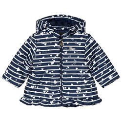 Guess Navy Heart and Stripe Hooded Coat