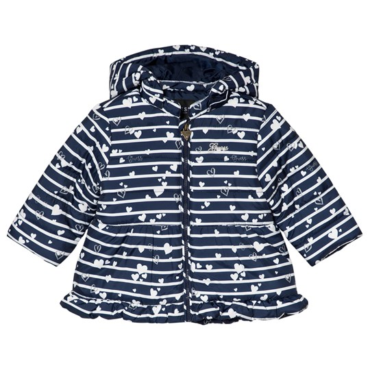 Guess Navy Heart and Stripe Hooded Coat P76C