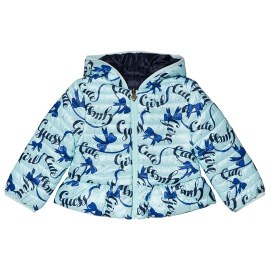 Guess Pale Blue Bow Branded Coat FA73