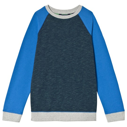 Lands' End Navy Crew Sweatshirt with Blue Sleeves 5LG