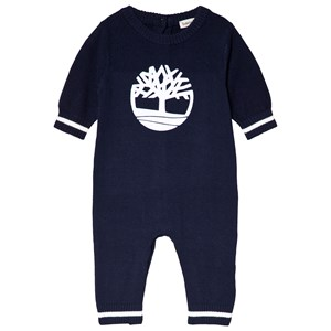 Image of Timberland Navy Tree Logo Knit Onesie 1 month (3056077069)
