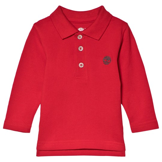 Timberland Red Logo Long Sleeve Pique Polo 971