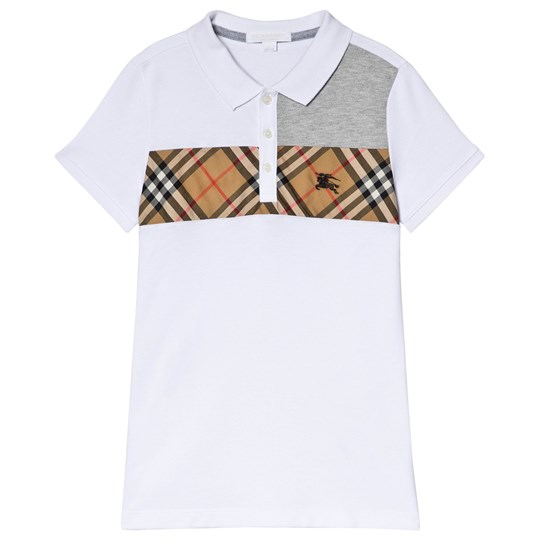 Burberry White Antique Check Jeff Polo White