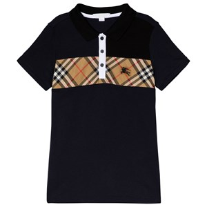 Image of Burberry Navy Antique Check Jeff Polo Shirt 4 years (3143207115)