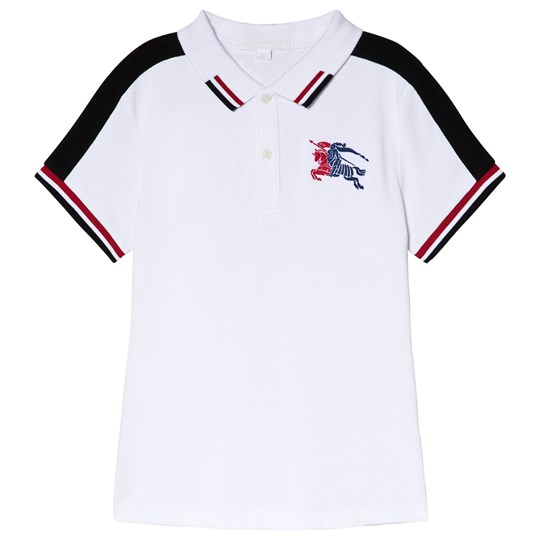 Burberry White and Navy Eric Polo with Knight Logo White