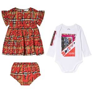 Image of Burberry Antique Check and Branded Dress, Bloomer and Body Amy Set 12 months (3056066689)