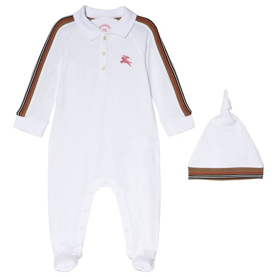 Burberry Heritage Stripe Mallory Pique Footed Baby Body and Hat Gift Set in White White
