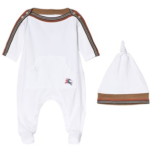 Image of Burberry White Abia Pique Romper and Hat Set 1 month (3056066703)