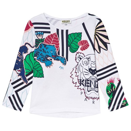 Kenzo White Tiger and Floral Print Long Sleeve Tee 01