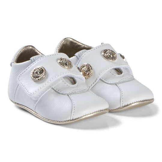 Versace White Medusa Plaque Leather Velcro Crib Shoes YSR20
