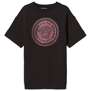Image of Young Versace Black and Pink Medusa Glitter Sweater Dress 4 years (3056076493)