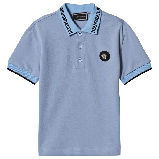 Versace Blue Medusa Plaque Polo with Palazzo Trim 4351