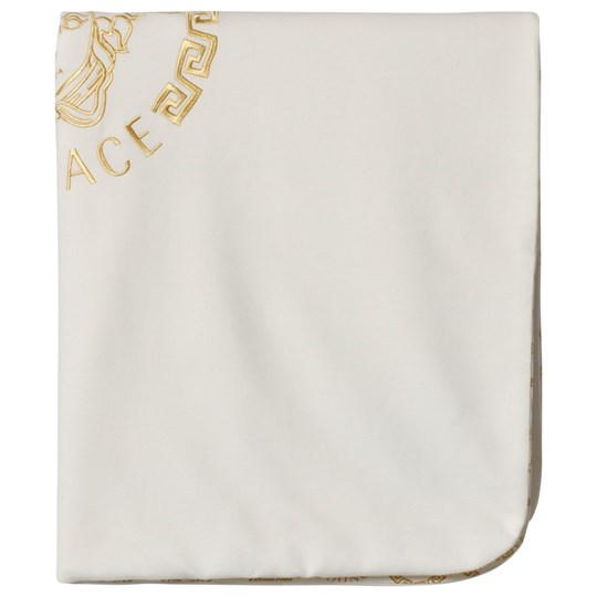 Versace White and Gold Baroque and Logo Print Jersey Blanket 4077