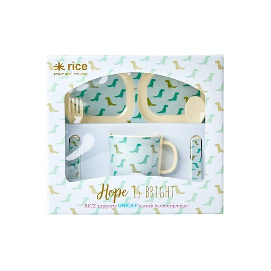 Rice Baby Melamine Dino Dinner Set