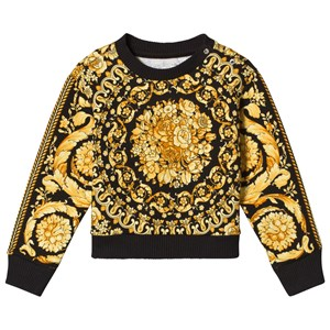 Image of Young Versace Black and Gold Baroque Print Sweatshirt 12 months (3056076793)